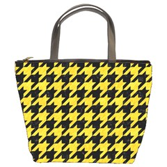 Houndstooth1 Black Marble & Yellow Colored Pencil Bucket Bags