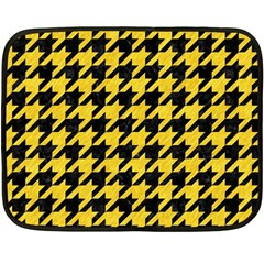 Houndstooth1 Black Marble & Yellow Colored Pencil Double Sided Fleece Blanket (mini)