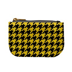 Houndstooth1 Black Marble & Yellow Colored Pencil Mini Coin Purses