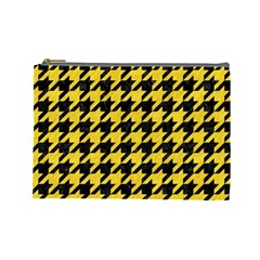 Houndstooth1 Black Marble & Yellow Colored Pencil Cosmetic Bag (large)
