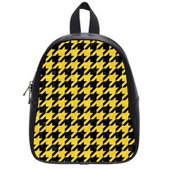 Houndstooth1 Black Marble & Yellow Colored Pencil School Bag (small)