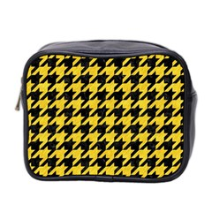 Houndstooth1 Black Marble & Yellow Colored Pencil Mini Toiletries Bag 2 Side
