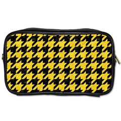 Houndstooth1 Black Marble & Yellow Colored Pencil Toiletries Bags