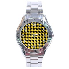 Houndstooth1 Black Marble & Yellow Colored Pencil Stainless Steel Analogue Watch