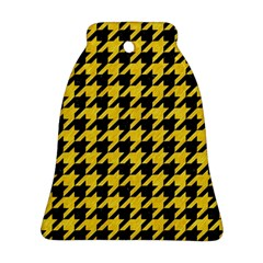 Houndstooth1 Black Marble & Yellow Colored Pencil Ornament (bell)