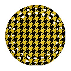 Houndstooth1 Black Marble & Yellow Colored Pencil Round Filigree Ornament (two Sides)