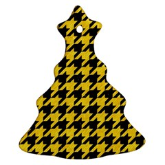 Houndstooth1 Black Marble & Yellow Colored Pencil Christmas Tree Ornament (two Sides)