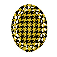 Houndstooth1 Black Marble & Yellow Colored Pencil Oval Filigree Ornament (two Sides)