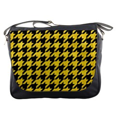 Houndstooth1 Black Marble & Yellow Colored Pencil Messenger Bags