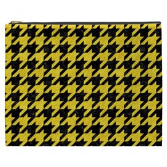Houndstooth1 Black Marble & Yellow Colored Pencil Cosmetic Bag (xxxl)