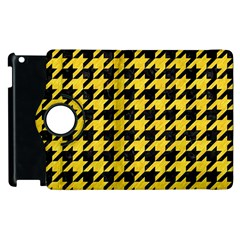 Houndstooth1 Black Marble & Yellow Colored Pencil Apple Ipad 3/4 Flip 360 Case