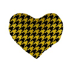 Houndstooth1 Black Marble & Yellow Colored Pencil Standard 16  Premium Heart Shape Cushions