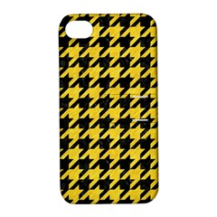 Houndstooth1 Black Marble & Yellow Colored Pencil Apple Iphone 4/4s Hardshell Case With Stand