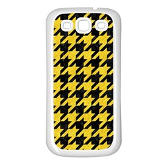 Houndstooth1 Black Marble & Yellow Colored Pencil Samsung Galaxy S3 Back Case (white)