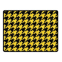 Houndstooth1 Black Marble & Yellow Colored Pencil Double Sided Fleece Blanket (small)