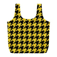 Houndstooth1 Black Marble & Yellow Colored Pencil Full Print Recycle Bags (l)