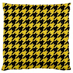 Houndstooth1 Black Marble & Yellow Colored Pencil Large Flano Cushion Case (two Sides)