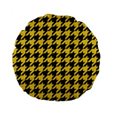 Houndstooth1 Black Marble & Yellow Colored Pencil Standard 15  Premium Flano Round Cushions