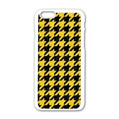 Houndstooth1 Black Marble & Yellow Colored Pencil Apple Iphone 6/6s White Enamel Case
