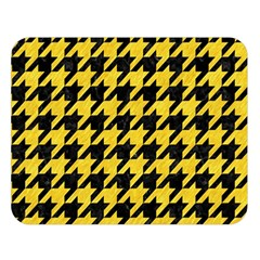 Houndstooth1 Black Marble & Yellow Colored Pencil Double Sided Flano Blanket (large)