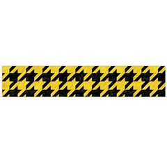 Houndstooth1 Black Marble & Yellow Colored Pencil Large Flano Scarf