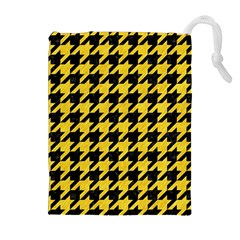 Houndstooth1 Black Marble & Yellow Colored Pencil Drawstring Pouches (extra Large)