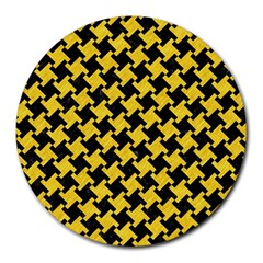 Houndstooth2 Black Marble & Yellow Colored Pencil Round Mousepads