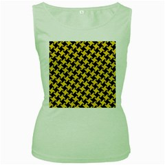 Houndstooth2 Black Marble & Yellow Colored Pencil Women s Green Tank Top