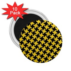 Houndstooth2 Black Marble & Yellow Colored Pencil 2 25  Magnets (10 Pack)