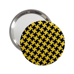 Houndstooth2 Black Marble & Yellow Colored Pencil 2 25  Handbag Mirrors