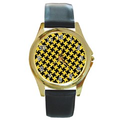 Houndstooth2 Black Marble & Yellow Colored Pencil Round Gold Metal Watch