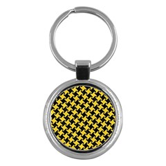 Houndstooth2 Black Marble & Yellow Colored Pencil Key Chains (round)