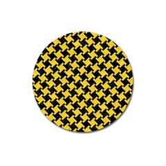 Houndstooth2 Black Marble & Yellow Colored Pencil Magnet 3  (round)