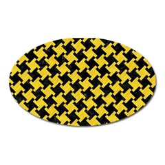 Houndstooth2 Black Marble & Yellow Colored Pencil Oval Magnet