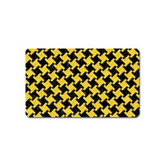 Houndstooth2 Black Marble & Yellow Colored Pencil Magnet (name Card)