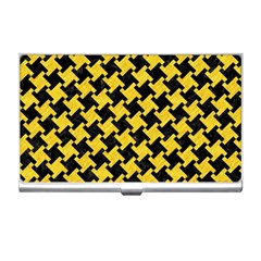 Houndstooth2 Black Marble & Yellow Colored Pencil Business Card Holders