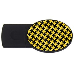 Houndstooth2 Black Marble & Yellow Colored Pencil Usb Flash Drive Oval (2 Gb)