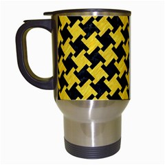 Houndstooth2 Black Marble & Yellow Colored Pencil Travel Mugs (white)
