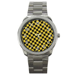Houndstooth2 Black Marble & Yellow Colored Pencil Sport Metal Watch