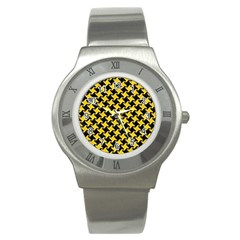 Houndstooth2 Black Marble & Yellow Colored Pencil Stainless Steel Watch