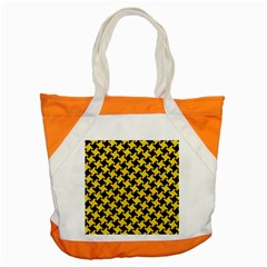 Houndstooth2 Black Marble & Yellow Colored Pencil Accent Tote Bag