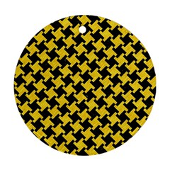 Houndstooth2 Black Marble & Yellow Colored Pencil Round Ornament (two Sides)