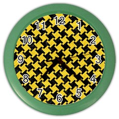 Houndstooth2 Black Marble & Yellow Colored Pencil Color Wall Clocks