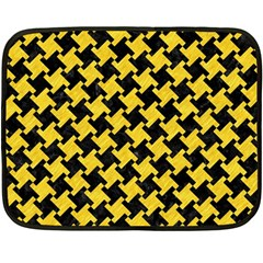 Houndstooth2 Black Marble & Yellow Colored Pencil Fleece Blanket (mini)