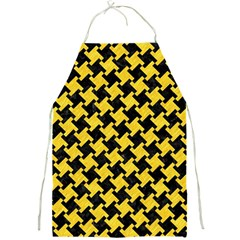 Houndstooth2 Black Marble & Yellow Colored Pencil Full Print Aprons