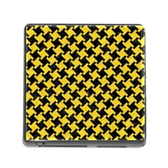 Houndstooth2 Black Marble & Yellow Colored Pencil Memory Card Reader (square)