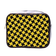 Houndstooth2 Black Marble & Yellow Colored Pencil Mini Toiletries Bags