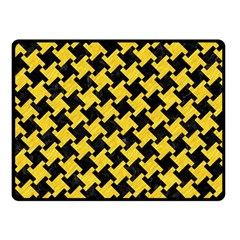 Houndstooth2 Black Marble & Yellow Colored Pencil Fleece Blanket (small)