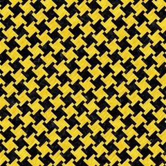 Houndstooth2 Black Marble & Yellow Colored Pencil Magic Photo Cubes