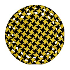 Houndstooth2 Black Marble & Yellow Colored Pencil Round Filigree Ornament (two Sides)